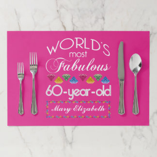 60th Birthday Most Fabulous Colorful Gems Pink Paper Placemat