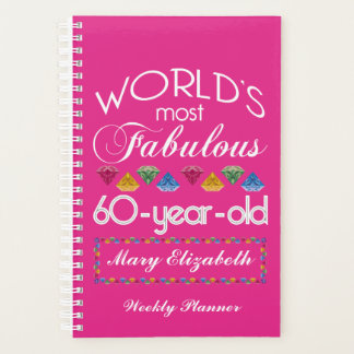 60th Birthday Most Fabulous Colorful Gems Pink Planner