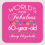 60th Birthday Most Fabulous Colorful Gems Pink Square Sticker