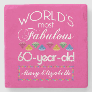 60th Birthday Most Fabulous Colorful Gems Pink Stone Coaster
