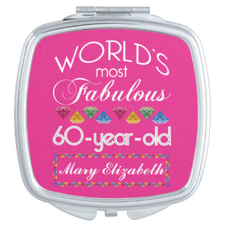 60th Birthday Most Fabulous Colorful Gems Pink Vanity Mirror