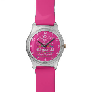 60th Birthday Most Fabulous Colorful Gems Pink Wristwatches