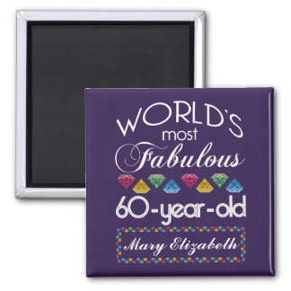 60th Birthday Most Fabulous Colorful Gems Purple 2 Inch Square Magnet