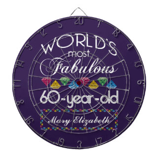 60th Birthday Most Fabulous Colorful Gems Purple Dartboard With Darts