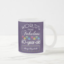 60th Birthday Most Fabulous Colorful Gems Purple Frosted Glass Coffee Mug