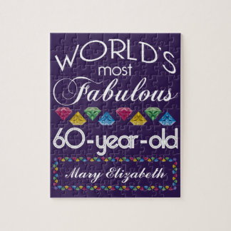 60th Birthday Most Fabulous Colorful Gems Purple Jigsaw Puzzle
