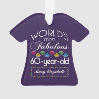60th Birthday Most Fabulous Colorful Gems Purple Ornament