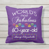 60th Birthday Most Fabulous Colorful Gems Purple Outdoor Pillow