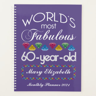 60th Birthday Most Fabulous Colorful Gems Purple Planner
