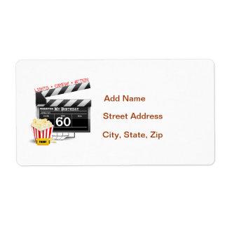 60th Birthday Movie Theme Label