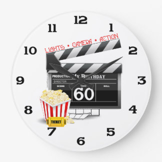 60th Birthday Movie Theme Large Clock