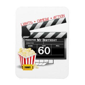 60th Birthday Movie Theme Rectangular Photo Magnet