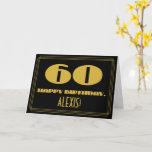 "[ Thumbnail: 60th Birthday: Name + Art Deco Inspired Look ""60"" Card ]"