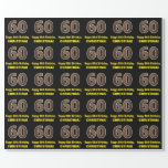 "[ Thumbnail: 60th Birthday: Name & Faux Wood Grain Pattern ""60"" Wrapping Paper ]"