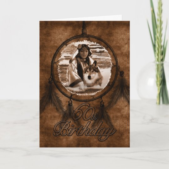 60th Birthday Native American Wolf Card Zazzle