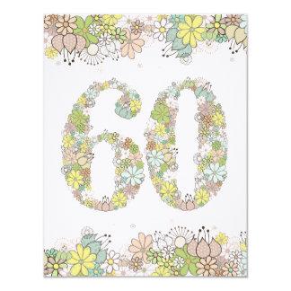 "60th Birthday Natural Blooms Ladies Photo Invite 4.25"" X 5.5"" Invitation Card"