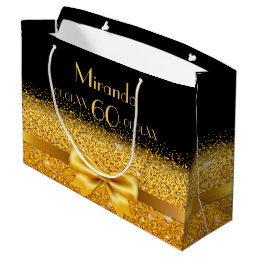 60th birthday on black with gold bow sparkle large gift bag