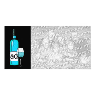60th birthday or anniversary : wine bottle & glass card