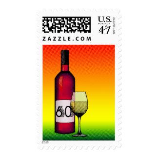 60th birthday or anniversary : wine bottle & glass postage