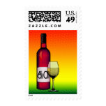 60th birthday or anniversary : wine bottle & glass postage