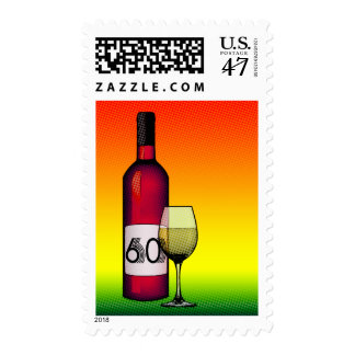 60th birthday or anniversary : wine bottle & glass postage stamp