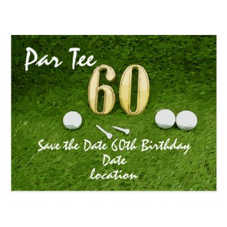 60th Birthday Par tee Party for golfer Postcard