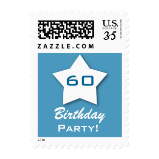 60th Birthday Party 3D Star V60Z Postage Stamps