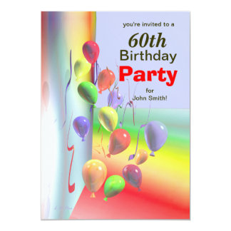 60th Birthday Party Balloon Wall Card