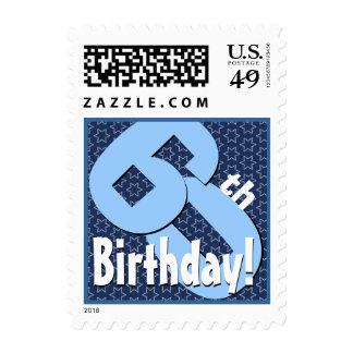 60th Birthday Party Big Bold Blue White Stars V8 Postage