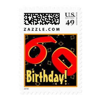 60th Birthday Party Big Bold Red Black Gold V060 Postage Stamps