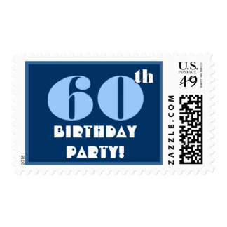 60th Birthday Party Big Bold Turquoise and Black Postage Stamp
