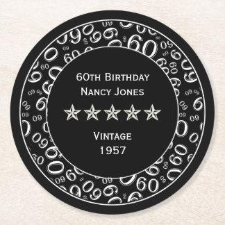 60th Birthday Party Black and White Theme Round Paper Coaster