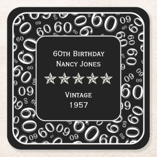 60th Birthday Party Black and White Theme Square Paper Coaster