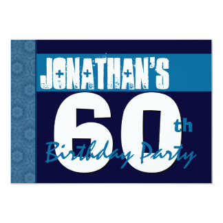 60th Birthday Party Blue Pattern Midnight and Navy Card