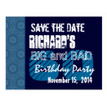 60th Birthday Party Blue Pattern Midnight and Navy Post Cards