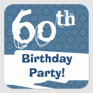 60th Birthday Party Blue Pattern Midnight and Navy Square Sticker