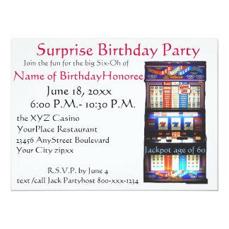 60th Birthday Party Casino Slot Machine 5.5x7.5 Paper Invitation Card