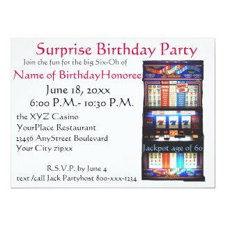 60th Birthday Party Casino Slot Machine Card