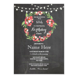 60th Birthday Party Chalk Wreath Floral Invite