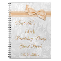 60th Birthday Party Damask and Bow Notebook