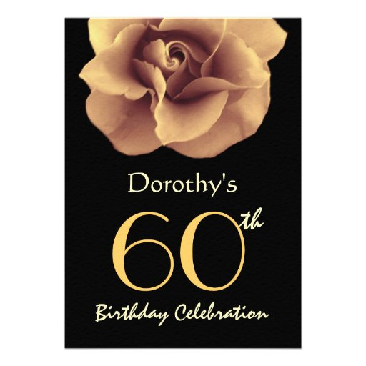 60th Birthday Party Elegant GOLD Rose and Black Personalized Invitation