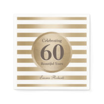 60th Birthday Party Elegant Gold Stripes Napkin