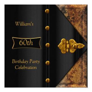 60th Birthday Party Elegant Mens Rusty Gold Black Card