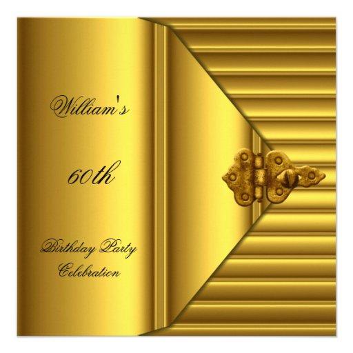 60th Birthday Party Elegant Mens Yellow Gold Mans Custom Invites
