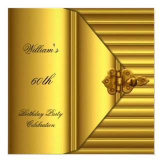 60th Birthday Party Elegant Mens Yellow Gold Mans 5.25x5.25 Square Paper Invitation Card