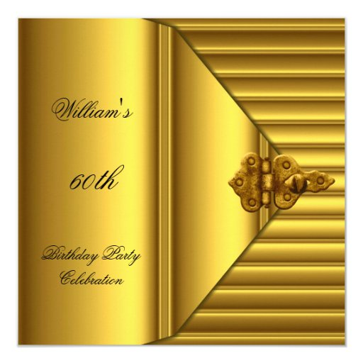 60th Birthday Party Elegant Mens Yellow Gold Mans 5.25x5.25 Square Paper Invitation Card