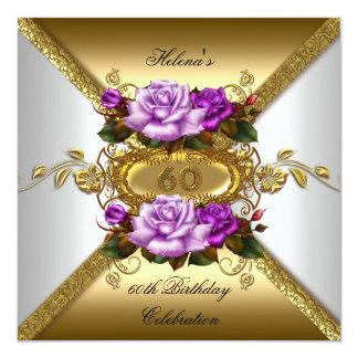 60th Birthday Party Elegant Roses Purple Gold Card