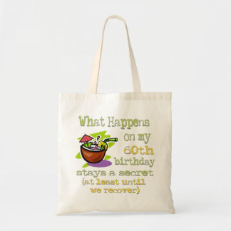 60th Birthday Party Gifts. What happens on my 60th Budget Tote Bag