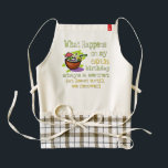 """60th Birthday Party Gifts. What happens on my 60th Zazzle HEART Apron<br><div class=""""desc"""">60th Birthday Party Gifts. What happens on my 60th birthday stays a secret, st least until we recover! Fun Birthday Tees and sweatshirts for family and friends. From crazy party drinking themes to sweet and sincere, we have it all. Find the greatest humorous t-shirts to make their birthday celebration even...</div>"""