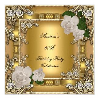 60th Birthday Party Gold Elegant Cream Rose 2 Invitation